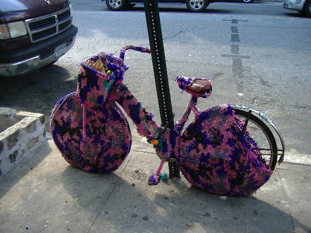 A knitted bike cozy? Was it cold?