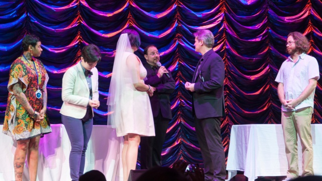 The Wedding I officated on the cruise. From left: Jean Grae, Molly Lewis, Renee Nejo (bride), me, Will Courtney (groom), Jonathan Coulton. I look smaller than everyone else because I am further back, honest. Photo by Andy Steigleder